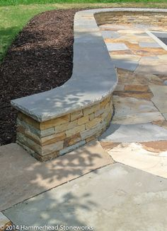 Backyard Retaining Walls, Backyard Pool Landscaping, Backyard Patio Designs, Concrete Patios, Bluestone Patio, Patio Bench, Patio Wall, Patio Edging, Outdoor Stone