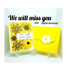 """""""We will miss you greeting encouragement card with envelope SVG. Cricut"""" Miss You Cards, Exploding Boxes, Black Flowers, All Holidays, Pocket Cards, Heart Cards, Flower Backgrounds, Love Notes, Distress Ink"""