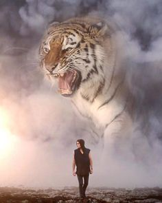 I Imagine A World With Giant Animals In My Digital Manipulations Giant Animals, Animals And Pets, Cute Animals, Digital Art Fantasy, Fantasy Art, Tiger Spirit Animal, Lion Wallpaper, Tiger Art, Lion Art