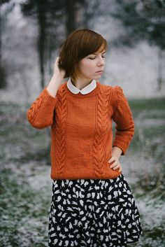 burnt orange sweater, peter pan collar and bunny skirt | Kittenhood