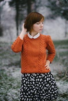 burnt orange sweater, peter pan collar and bunny skirt   Kittenhood