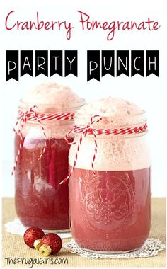 Cranberry Pomegranate Party Punch Recipe! ~ from TheFrugalGirls.com ~ send your parties over the top with this easy Holiday Punch! It's SO festive and perfect for Christmas! #recipes #thefrugalgirls
