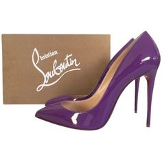 Pre-owned Christian Louboutin Pigalle Follies 100 Digitale Patent... ($750) ❤ liked on Polyvore featuring shoes, pumps, purple, purple pumps, patent pumps, patent leather shoes, purple shoes and pre owned shoes