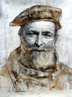 """SOLD- Man in a Beret Drawing 15"""" x 11"""""""