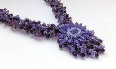 Puprle Passion Flower Beadwoven Embellished by BobbiePeneJewelry, $286.00