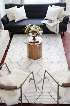 Living Room Makeover by The Blondie Locks with Rugs USA's Apex Striped AL01 Rug!