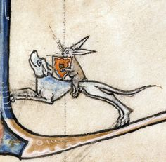 rabbit knightVincent of Beauvais, Speculum historiale, France ca. 1294-1297Boulogne-sur-Mer, Bibliothèque municipale, ms. 130II, fol. 87v