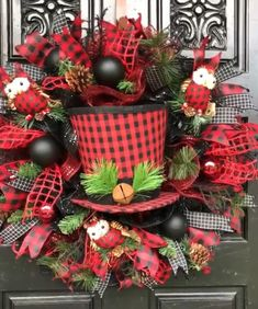 christmas door wreaths christmas hats holiday wreaths christmas holidays lo mein winter craft christmas centerpieces christmas decorations - Red And Black Plaid Christmas Decor