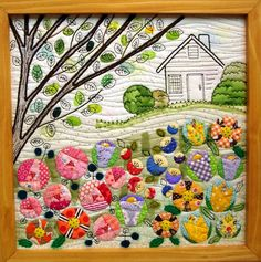 Tokyo International Quilt Festival 2011, framed quilt with house and garden