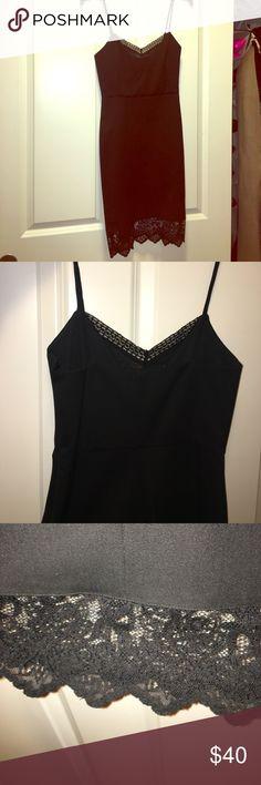 Zara mini dress Zara mini black dress. Lace bottom trim and mesh lace trim on top. Form fitting. Basically new. Worn once. Zara Dresses Mini