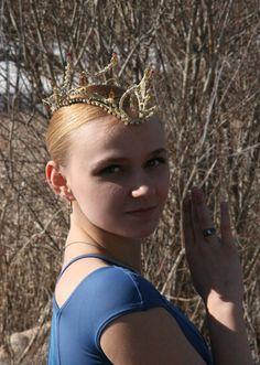 Professional Ballet Headpiece Tiara Gold AB Crystal by Angamow