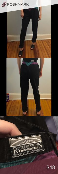 """Vintage 80s Highwaisted Colored Jeans Vintage 80s highwaisted black denim jeans with double button closure, and purple and turquoise detailing. Inseam 36 (i'm 5'7"""" and cuffed it twice for reference, but you could also cut the bottoms shorter- frayed hems are very in!). Brand Rockies   Waist: 25"""" Hips: 40"""" Rise: 12"""" Inseam: 36""""  ***   ***   ***   ***   *** • NO SWAPS • MAKE ME AN OFFER! Please no lowballing.  • Discounts on bundles! However, I DO NOT except offers on bundles as they are…"""