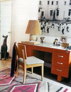 orange steelcase desk