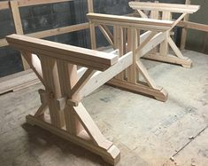 Farmhouse Triple Double Trestle Table DIY Kit – made to order - Marble Table Small Woodworking Projects, Woodworking Plans, Wood Projects, Youtube Woodworking, Woodworking Classes, Woodworking Videos, Woodworking Store, Woodworking Patterns, Woodworking Workshop