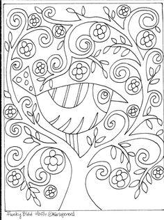 Folk Embroidery Patterns Rug Hooking Paper Pattern Funky Bird Folk Art Modern Primitive Unique Karla G Pattern Coloring Pages, Coloring Book Pages, Coloring Sheets, Adult Coloring, Folk Embroidery, Embroidery Patterns, Paper Embroidery, Pattern Paper, Pattern Art