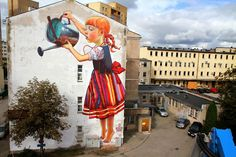 The Legend of Giants: A New Mural by Natalia Rak street art.The Legend of Giants: Mural by Polish artist and graphic designer Natalia Rak that was painted as part of the Folk on the Street art festival in Białystok, Poland. 3d Street Art, Best Street Art, Amazing Street Art, Street Art Graffiti, Street Artists, Street Work, Street Mural, Graffiti Kunst, Graffiti Banksy
