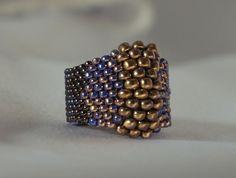 Anillo Trenzada Granito Bicolor Chapado En Oro De Nueve T 58 Otros