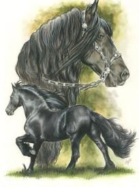 Black Frisian Draft Horse Counted Cross Stitch Pattern    /Amazingly beautiful EL./
