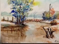 """""""The Pond"""" Watercolour Artwork by Artist Sharon Wood swoody@internode.on.net"""