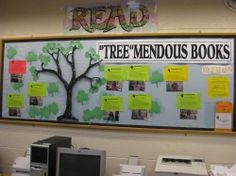 *Tree*mendous books - middle school language arts classroom idea. Could also use to showcase popular books from various time periods.