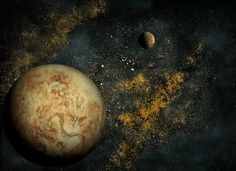 Planetary Pancakes. Planet/moon – pancakes! Background – olive oil, flour, cinnamon, cumin, seasoned salt. Food Art Space Scenes, Achieved by Scanning Food and Spices. To see more art and information about Navid Baraty click the image.