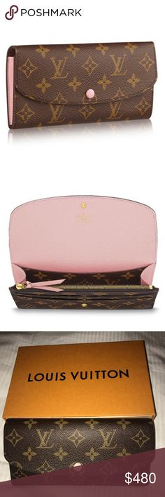Authentic Louis Vuitton Pink Emilie Wallet 100% Authentic gorgeous Louis Vuitton Emilie Wallet comes with box dust bag and tag shown in pictures above. I also provided photo of datecode best picture I can capture CAO137. Also interested in trading Louis Vuitton Bags Wallets