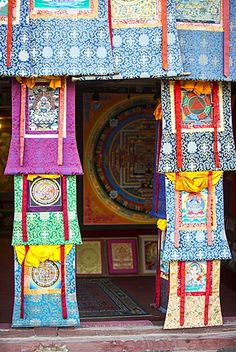 A shop selling traditional Buddhist Thanka paintings in Boudhanath Stupa square…