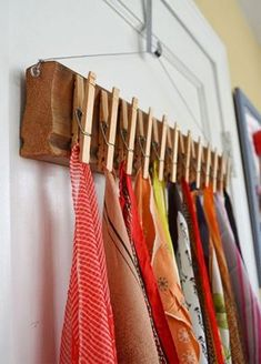 Home diy - The Best DIY Inspiration That Will Keep Your Room Organized And Chic Effortless ways to incorporate shabby chic organization hacks with floating shelves, folding shelves and furniture you can do your Best Closet Organization, Organization Hacks, Closet Hacks, Organizing Ideas, Diy Rangement, Clothes Pegs, Hanging Clothes, Diy Scarf, Ideas Geniales