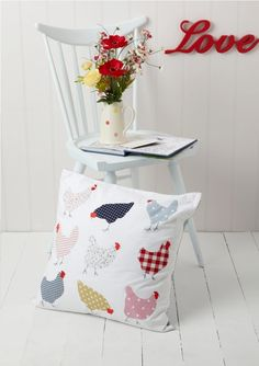 chickens pillow with vintage fabric appliques