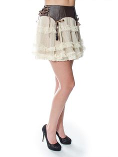 Spin Doctor by Hell Bunny Sally Steampunk Skirt (Brown)