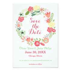 Pink Floral Wreath   Save The Date X Invitation Card