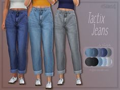 high-waisted, slightly cropped pair of jeans with realistic texture. Found in TSR Category 'Sims 4 Female Everyday'A high-waisted, slightly cropped pair of jeans with realistic texture. Found in TSR Category 'Sims 4 Female Everyday' Sims 4 Cc Kids Clothing, Sims 4 Mods Clothes, Sims Mods, Diy Clothes, Maxis, Sims 4 Cas, Sims Cc, Sims4 Clothes, Sims 4 Characters