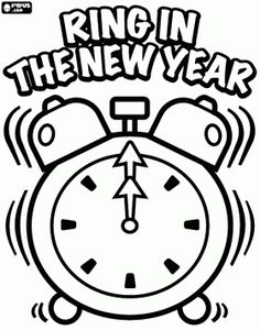 alarm clock that rings when the new year arrives at midnight coloring page new year coloring