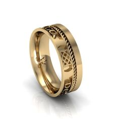 "Gaelic Love Forever Wedding Ring - Three Celtic Knot designs with the words ""Gra Go Deo"" between them.  Meaning Love Forever"