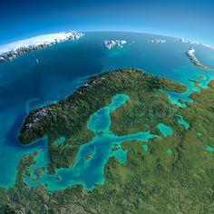 Lager bilde av 'Meget detaljert planeten Jorden i morgen.  Overdrevet presis lettelse tent morgensolen.  Detaljert Earth.  Europa.  Skandinavia.  Elementer av dette bildet levert av NASA'