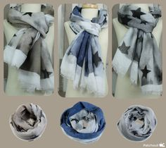 Fijne viscose shawls met sterren. Verkrijgbaar in 3 kleuren: grijs, taupe en jeansblauw.