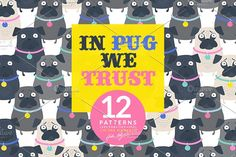 I am super excited to introduce two NEW collections: 'In Pug we Trust' and 'One day I'll be a Unicorn'. To all pugs lovers! Woooof! Pugs & Unicorns pattern illustration by Hala Kobrynska on @creativemarket