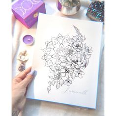 Print « Flowers and Mandala » | 8.5 x Tattoos For Women Flowers, Sleeve Tattoos For Women, Flower Tattoos, Thigh Sleeve Tattoo, Mandala Thigh Tattoo, Tattoo Sketches, Tattoo Drawings, I Tattoo, Printable Tattoos