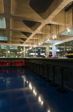Cast concrete ceiling at the Barbican Lounge Restaurant, London.