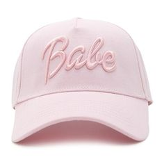 Forever21 Babe Graphic Baseball Cap (£7.99) ❤ liked on Polyvore featuring accessories, hats, embroidered baseball caps, ball cap hats, cotton baseball hats, baseball caps and forever 21
