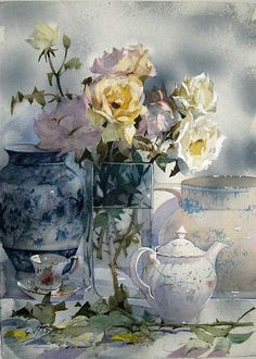 Geoffrey Wynne Acuarelas - Watercolours: COMPOSICIÓN DE FLORES - FLOWER COMPOSITION