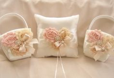 Two Flower Girl Baskets and Pillow   Peach Rose by nanarosedesigns,