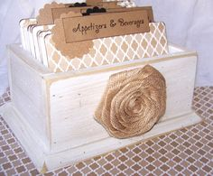 Recipe Box, Dividers and Cards - Shabby Chic Distress White Box, Tan, Beige Neutral Dividers on Etsy, $48.00