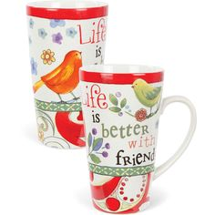Life Is Better With Friends 19 oz Ceramic Latte Coffee Mug Cup USA Seller