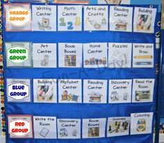 organizing centers in the pre-k classroom - possibly to use at home where every day of the week is a different color to show which folder or box or or or or to use...