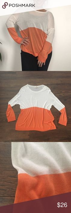 Color Block Lightweight Sweater Cute lightweight knit orange and white color block sweater with drop shoulders. Perfect condition. Size Large. I am modeling and I normally wear a size small. Ya Los Angeles Sweaters