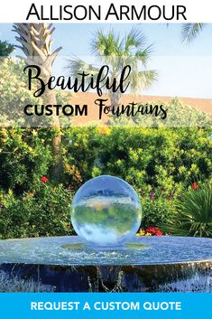 """Allison Armour's award-winning sphere water feature """"Aqualens"""" is the perfect addition to your outdoor garden space. Contact us today for a quote! Sphere Water Feature, Moon Gate, Garden Fountains, Garden Spaces, Water Features, Quote, Artwork, Outdoor, Beautiful"""