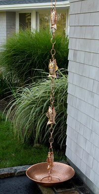 Really unique copper rain chains add a nice finished touch to your outside home decor.  Everyone will want to know where you got it.