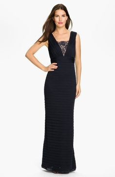 Long Black Pleated Lace Mesh Gown
