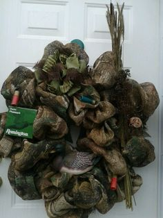 camo burlap hunting wreath